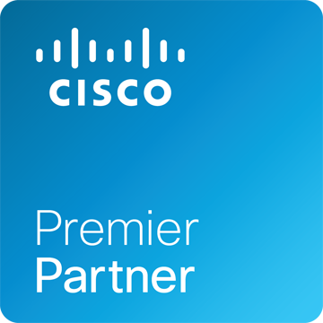Cisco Premier Partner Logo. We are a Cisco Premier Partner, holding advanced specializations and certifications Collaboration, Data Center, Security, & Wireless technologies.