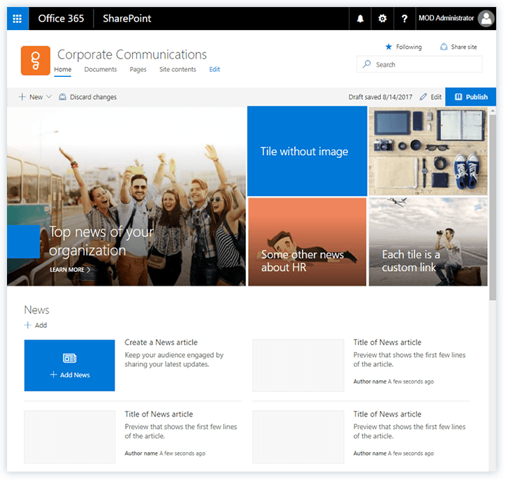 Microsoft Sharepoint Communication Site